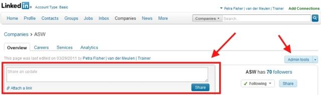 LinkedIn bedrijfspagina share update box