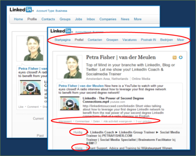 LinkedIn Interface Nederlands Petra Fisher LinkedIn Coach Trainer
